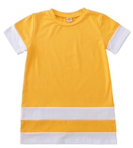 女の赤ちゃん夏のコントラストシャツドレス