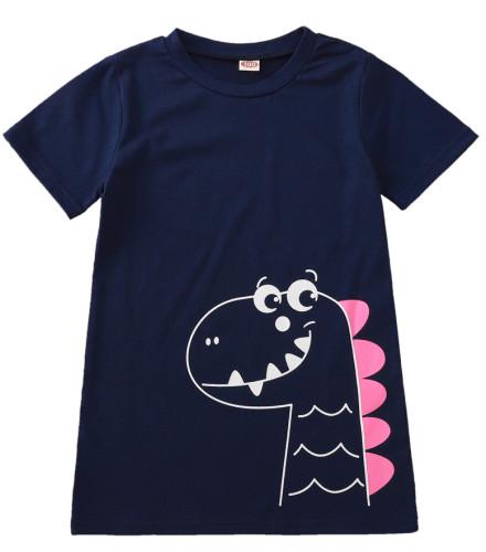 女の赤ちゃん夏のアニマルプリントシャツドレス