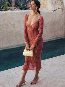 Robe midi sexy en tricot d'été à manches longues