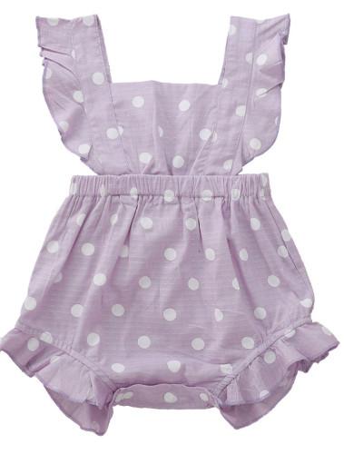 女の赤ちゃんサマーポルカプリントロンパース