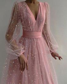 Summer Bling Bling Sexy Abendkleid mit tiefem V-Netz und vollen Ärmeln
