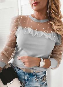 Summer Mesh Patch Perlen Elegantes Shirt mit vollen Ärmeln