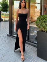 Vestido de noche largo formal con hendidura lateral negra