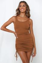 Summer Solid Color Ruched Strings Vest Dress