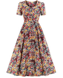 Formelles Blumen-Skaterkleid im Vintage-Stil mit kurzen Ärmeln