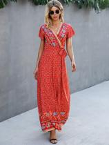 Vestido de verano largo envuelto floral informal de verano