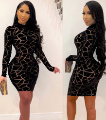 Sexy Black Geommetric Langarm Bodycon Kleid