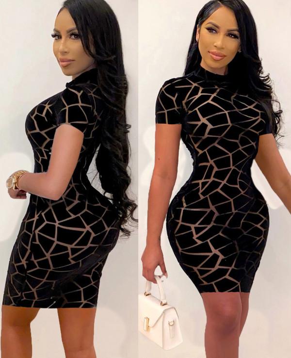 Sexy Black Geommetric Short Sleeve Bodycon Dress