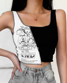 Summer Print Kontrast Tank Crop Top
