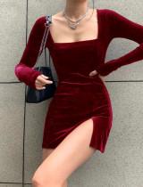 Spring Velvet Mini Square Kleid mit langen Ärmeln