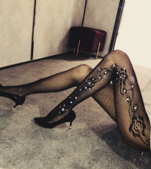 Sexy Black Floral Mesh Beaded Stocking