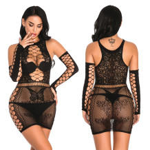Sexy Hollow Out Mesh Chemise Dessous mit Handschuhen