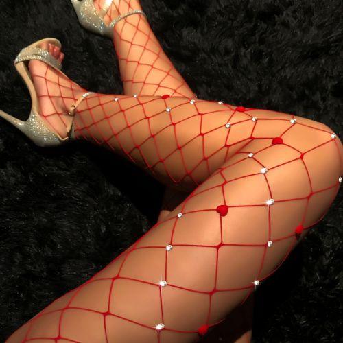 Bas de perles sexy résille rouge