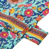 Летнее длинное пляжное платье с богемным цветочным принтом и поясом