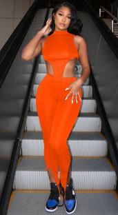 Einfarbige sexy unregelmäßige Crop Top und Hosen Set