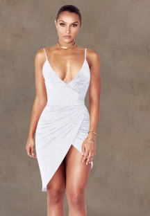 Vestido de fiesta con tirantes envueltos sexy de verano