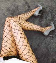 Medias de cuentas negras sexy de rejilla