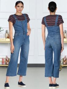 Pantalones de tirantes de pierna ancha de mezclilla azul casual de verano