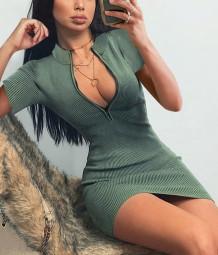Sommer lässig grün gerippt Minikleid