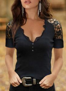 Camisa básica con cuello en V y parche de encaje de verano