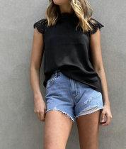 Sommer Schwarz Spitzen-Patch Basic Shirt Patch