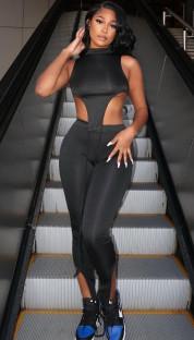 Conjunto de pantalón y top corto irregular sexy de color sólido