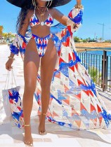 Print Two-Piece High Waist Swimwear with Cover-Up
