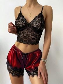 Сексуальный кружевной топ и атласные шорты, комплект нижнего белья