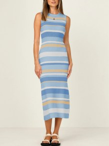 Sommer Casual Stripes Long Tank Kleid