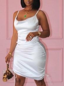 Yazlık Saten Askılı Dantelli Mini Bodycon Elbise