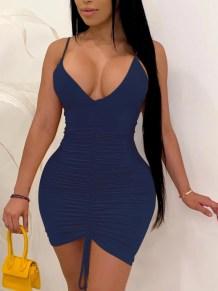 Düz Renk Seksi Dantelli Halter Bodycon Elbise