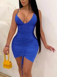 Vestido ajustado azul halter acanalado sexy de verano