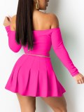 Solid Off Shoulder Crop Top and Pleated Skirt Set