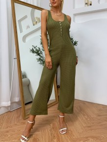 Sommer Solid Sleeveless Wide Legges Casual Jumpsuit