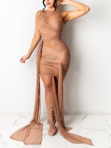 Party Sexy See Through Sleeveless Strings Bodycon Dress