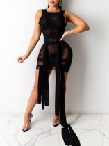 Summer Party Sexy See Through Black Sleeveless Strings Bodycon Dress