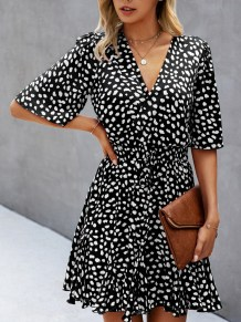 Summer Casual Print Wrapped Skater Dress