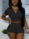 Summer Jogging Solid Hoody Crop Top e Shorts Set