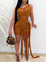 Summer Party Sexy See Through Khaki Sleeveless Strings Bodycon Dress