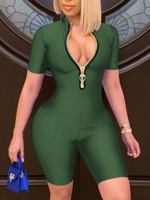 Sommer Sexy Zip Up Solid Bodycon Strampler
