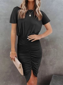 Sommer lässig schwarz unregelmäßig gerafftes Kleid