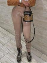 Кожаные сексуальные узкие брюки с накоплением