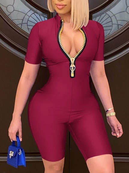 Summer Sexy Zip Up Solid Bodycon Rompers
