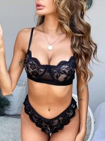 Sexy Lace Black BH und Panty Dessous Set