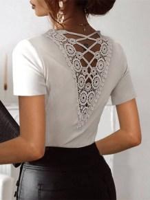 Summer White Lace Back Elegantes Hemd