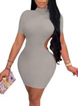 Mini vestido ajustado con corte sólido sexy de fiesta de verano
