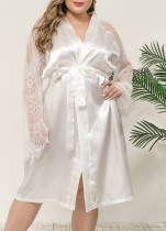 Sexy Lace Patch Satin Robe Pyjama mit Gürtel