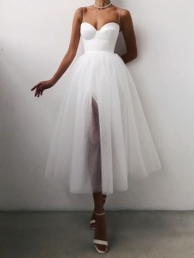 Occassional Solid High Waist Mesh Strap Ball Gown