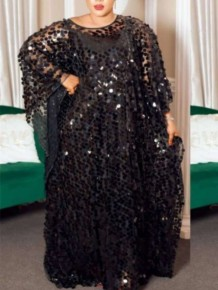 Robe Maxi Caftan Musulman Abaya Paillettes Grande Taille