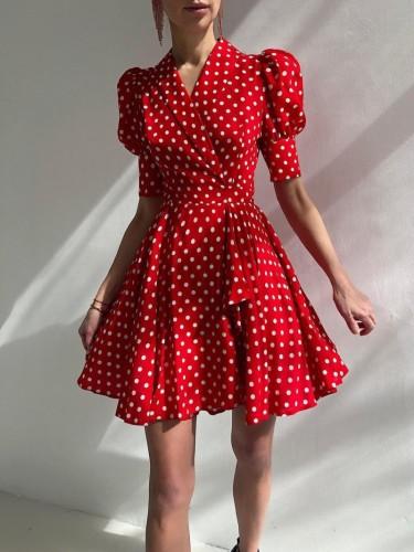ポップスリーブ付きサマーポルカプリントヴィンテージウエディングドレス